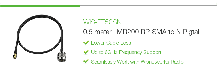 WIS-PT50SN: 0.5 meter LMR200 RP-SMA to N-type RF Cable Pigtail