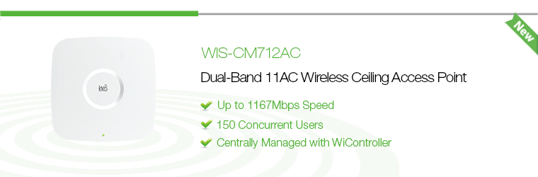 WIS-CM712AC: 1167Mbps 802.11ac Dual-Band Ceiling Mount Access Point