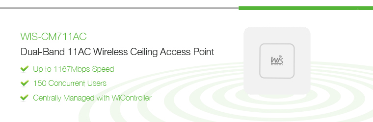 WIS-CM711AC: 1167Mbps 802.11ac Dual-Band Ceiling Mount Access Point