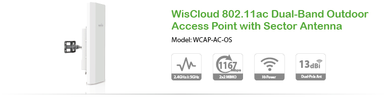 WisCloud 802.11ac Dual-Band Outdoor Access Point with Sector Antenna