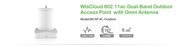 WisCloud 802.11ac Dual-Band Outdoor Access Point  with Omni antenna