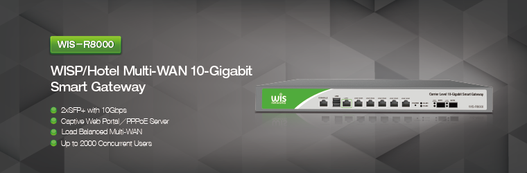 WIS-R8000 - WISP/Hotel Multi-WAN 10-Gigabit Smart Gateway
